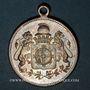 Coins Alsace. Mulhouse. Fête des pompiers. 1897. Médaille en laiton argenté. 29 mm. Avec son oeillet