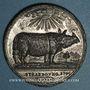 Coins Alsace. Strasbourg. Le rhinocéros à Strasbourg. 1748. Médaille étain. 39,70mm. Gravée par J. D. Kamm