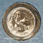 Coins Alsace. Strasbourg. Municipalité. Pfennig au lis biface (14e siècle). R/: buste d'évêque