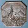 Coins Thann. Commémoration de l'entrée des troupes françaises. Médaille bronze. Carrée à coins coupés