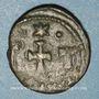 Coins Empire byzantin. Constant II (641-668). 1/2 follis.Carthage 647-659. Refrappé /ancienne monnaie