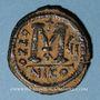 Coins Empire byzantin. Justin II (565-578). Follis. Nicomédie, 1ère officine, 571-572