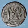 Coins Empire byzantin. Justinien I (527-565). Follis. Constantinople, 5e officine, 539-540