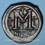 Coins Empire byzantin. Justinien I (527-565). Follis. Nicomédie, 2e officine, 527-537