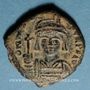 Coins Empire byzantin. Maurice Tibère (582-602). 1/2 follis. Constantinople, 3e officine, 590-591