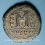 Coins Empire byzantin. Maurice Tibère (582-602). Follis. Théopoulis (Antioche), 1ère officine, 595-596
