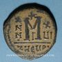 Coins Empire byzantin. Maurice Tibère (582-602). Follis. Théopoulis (Antioche), 3e officine, 597-598