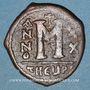 Coins Empire byzantin. Maurice Tibère (582-602). Follis. Théopoulis (Antioche), 6e officine, 601-602