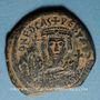 Coins Empire byzantin. Phocas (602-610). Follis surfrappé sur une monnaie de Maurice Tibère. Cyzique