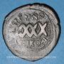 Coins Empire byzantin. Phocas (602-610). Follis surfrappé sur une monnaie de Maurice Tibère. Nicomédie