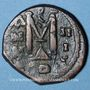 Coins Héraclius (610-641) et Héraclius Constantin (613-631) follis surfrappé. Constantinople, 4e off., 613