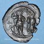 Coins Héraclius (610-641) et Héraclius Constantin (613-631). Follis surfrappé /follis de Maurice Tibère