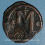 Coins Heraclius (610-641). Follis. Sicile. Contremarqué sur un follis de Justinien I (619-629