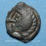 Coins Bellovaques. Région de Beauvais. Potin aux chevrons et à la tête hirsute. Vers 60-30-25 av. J-C
