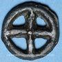 Coins Rouelle celte à quatre rayons. Potin. 15,8 mm