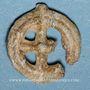 Coins Rouelle celte en plomb à quatre rayons. 13,75 mm