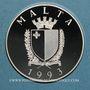 Coins Malte. République. 5 liri - 10 écus 1993.  Défense de l'Europe Chrétienne.  (PTL 925/1000. 25 g)