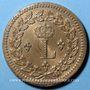 Coins 1ère Restauration (1814-15). 1er Blocus Strasbourg 1814. 1 décime 1814BB. Avec points. Prototype