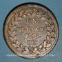 Coins 2e blocus de Strasbourg 1815. 1 décime 1815BB points après DECIME et 1815