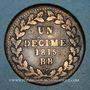 Coins Cent Jours. Napoléon I. 2e Blocus Strasbourg 1815. 1 décime 1815 BB. Points après DECIME et 1815