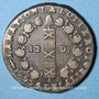 Coins Constitution (1791-1792). 12 deniers 1792Q. Perpignan, 1er semestre, type FRANCOIS, MdC