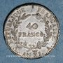 Coins Consulat (1799-1804). 40 francs an XI A. Etain. Non signé. Inédit !