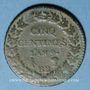 Coins Consulat (1799-1804). 5 centimes an 9BB. Strasbourg