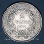Coins Gouvernement de Défense Nationale (1870-1871). 2 francs avec légende. 1871K. Bordeaux. Petit K