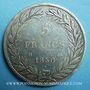 Coins Louis Philippe (1830-1848). 5 francs sans le I, tranche en creux 1830D. Lyon