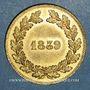Coins Louis Philippe (1830-1848). Essai hybride de la presse monétaire, 1839. Frappe médaille. Bronze doré