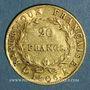 Coins 1er empire (1804-1814). 20 francs tête nue an 1806A. (PTL 900‰. 6,45 g)