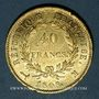 Coins 1er empire (1804-1814). 40 francs tête laurée, REPUBLIQUE, 1808M. Toulouse. 900 /1000. 12,90 gr