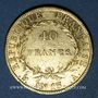 Coins 1er empire (1804-1814). 40 francs tête nue an 13A. 900 /1000. 12,90 gr