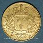 Coins 1ère restauration (1814-1815). 20 francs buste habillé 1814A. 900/1000. 6,45 g. Type avec 4 moyen