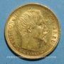 Coins 2e empire (1852-1870). 10 francs tête nue 1854 A. Petit module, tr. cannelée. (PTL 900‰. 3,22 g)