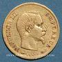 Coins 2e empire (1852-1870). 10 francs tête nue 1855 A. Var avec dernier 5 décalé. (PTL 900‰. 3,22 g)