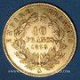 Coins 2e empire (1852-1870). 10 francs tête nue 1858 A. (PTL 900‰. 3,22 g)
