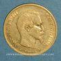 Coins 2e empire (1852-1870). 10 francs tête nue 1860BB Strasbourg grand module. (PTL 900/1000. 3,22 g)