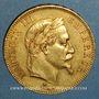 Coins 2e empire (1852-1870). 100 francs Napoléon III tête laurée 1866A. (PTL 900 /1000. 32,25 g)