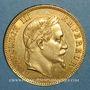 Coins 2e empire (1852-1870). 100 francs Napoléon III tête laurée 1869 BB. Strasbourg. (PTL 900‰. 32,25 g)