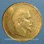 Coins 2e empire (1852-1870). 100 francs Napoléon III tête nue 1857 A. (PTL 900‰. 32,25 g)