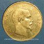 Coins 2e empire (1852-1870). 100 francs Napoléon III tête nue 1857A. (PTL 900 /1000. 32,25 g)