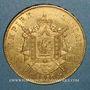 Coins 2e empire (1852-1870). 100 francs Napoléon III tête nue 1858BB. Strasbourg. (PTL 900/1000. 32,25 g)