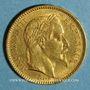 Coins 2e empire (1852-1870). 20 francs Napoléon III tête laurée 1863 BB. Strasbourg. (PTL 900‰. 6,45 g)