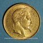 Coins 2e empire (1852-1870). 20 francs Napoléon III tête laurée 1864 A. (PTL 900‰. 6,45 g)