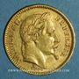 Coins 2e empire (1852-1870). 20 francs Napoléon III tête laurée 1864 BB. Strasbourg. (PTL 900‰. 6,45 g)