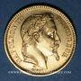 Coins 2e empire (1852-1870). 20 francs, Napoléon III, tête laurée 1864A. 900 /1000. 6,45 gr