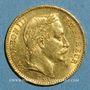 Coins 2e empire (1852-1870). 20 francs Napoléon III tête laurée 1866BB. Strasbourg. (PTL 900/1000. 6,45 g)