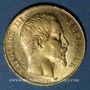 Coins 2e empire (1852-1870). 20 francs Napoléon III tête nue 1854A. (PTL 900/1000. 6,45 g)