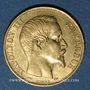 Coins 2e empire (1852-1870). 20 francs, Napoléon III, tête nue 1856A. 900 /1000. 6,45 g